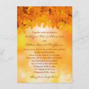 Maple Leaves Autumn Splendour Wedding Invitation