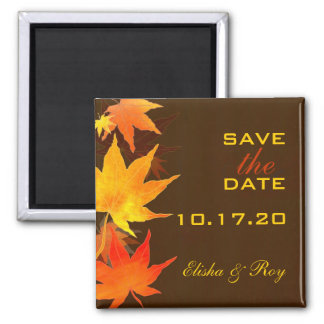 Maple Leaves Chocolate Brown Wedding Save the Date Square Magnet