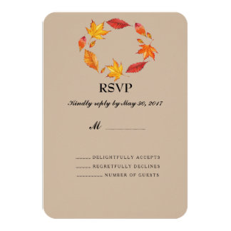 Maple Leaves Fall Wedding RSVP Cards 9 Cm X 13 Cm Invitation Card