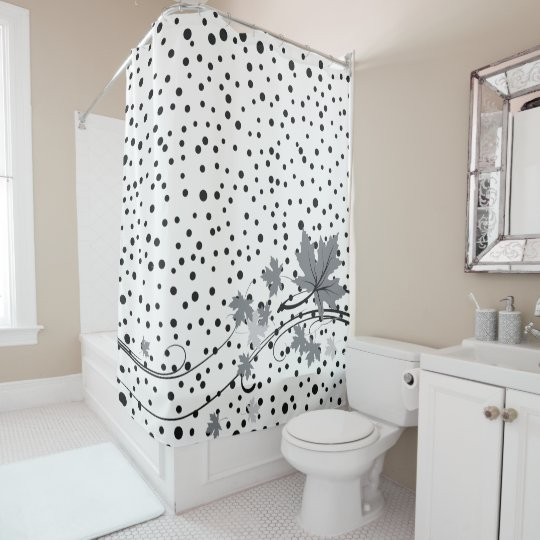 Maple leaves grey and black polka dots shower