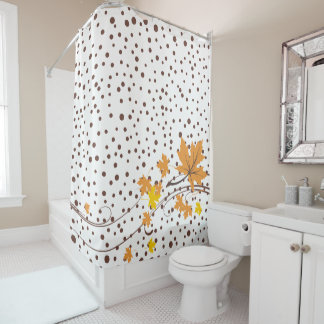 Maple leaves orange and brown polka dots shower curtain