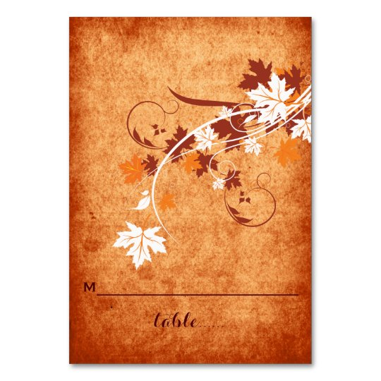 Maple leaves orange fall wedding folded place card
