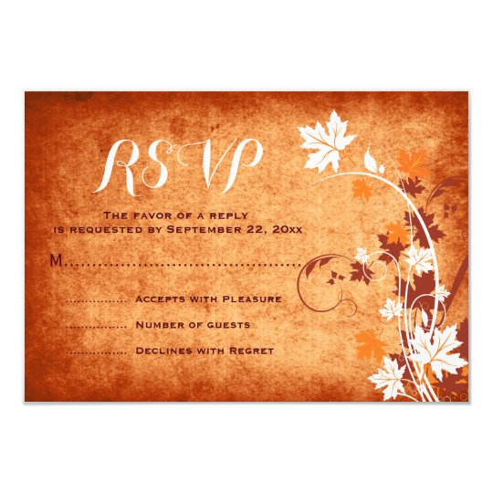 Maple leaves orange fall wedding RSVP reply Card
