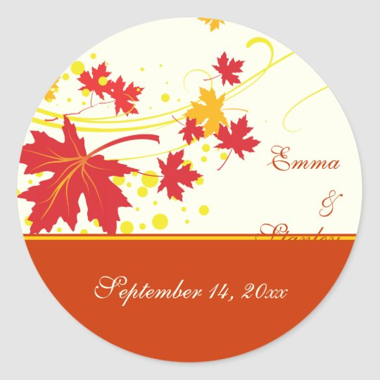 Maple leaves red yellow wedding Save the Date