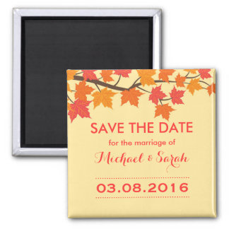 Maple Leaves Save The Date Autumn Wedding Magnet