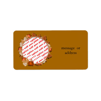 Maple Leaves with Pumpkin Frame on Autumn Brown Address Label