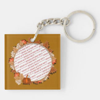 Maple Leaves with Pumpkin Frame on Autumn Brown Double-Sided Square Acrylic Key Ring