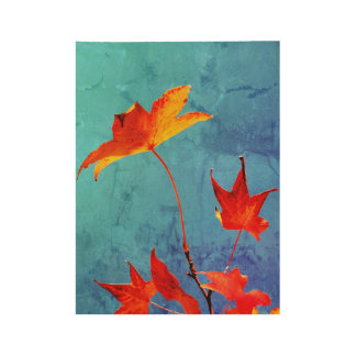 Maple Leaves Wood Poster