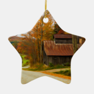Maple Sugar Shack in  Vermont Fall Christmas Ornament