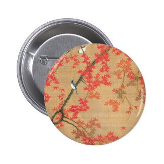 Maple Tree and Small Birds by Ito Jakuchu 6 Cm Round Badge