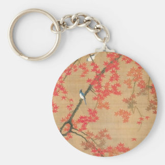 Maple Tree and Small Birds by Ito Jakuchu Basic Round Button Key Ring