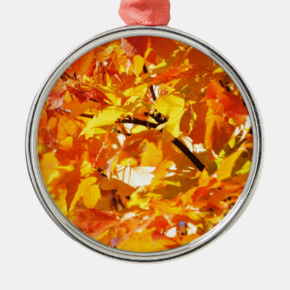 Maple tree autumn leaves Silver-Colored round decoration