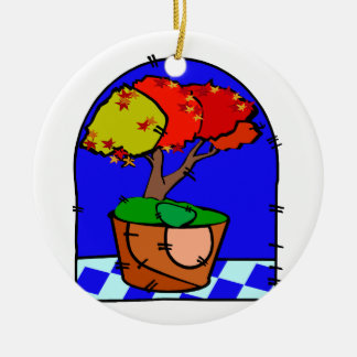 Maple Tree In Pot Blue Background Round Ceramic Decoration