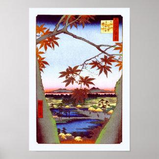 Maple Trees Tekona Hiroshige Japanese Fine Art Poster