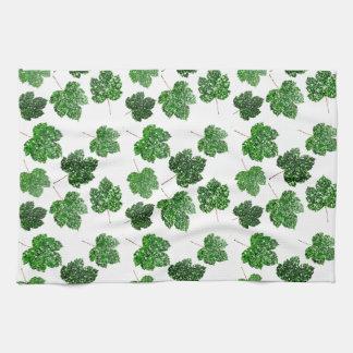 Maple Tropical Cali Green Leaf Nature White Wood Tea Towel