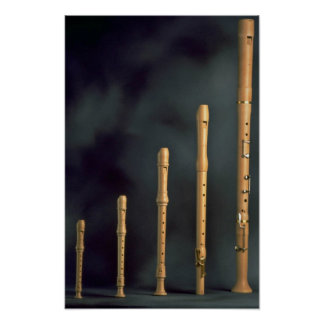 Maple wood recorders, wind instruments poster