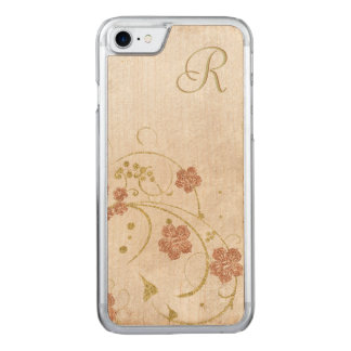 Maple Wood Vintage Floral Monogram iPhone Case