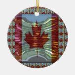 MapleLeaf : Representing Proud Canadian Values Round Ceramic Decoration