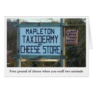 mapleton taxidermy cheese shop greeting card