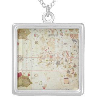 Mappa Mundi, 1502 Silver Plated Necklace