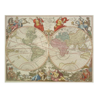 Mappe Monde ou Description du Globe Terrestre & Aq Postcard