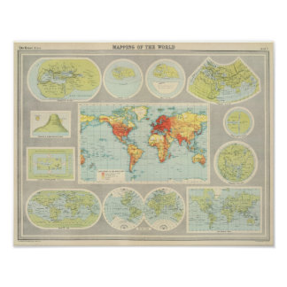 Mapping of the world poster