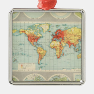 Mapping of the world Silver-Colored square decoration