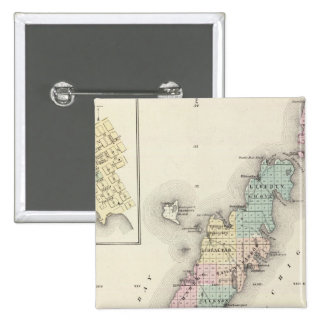 Maps of Door County, Sturgeon Bay and Jenny 15 Cm Square Badge