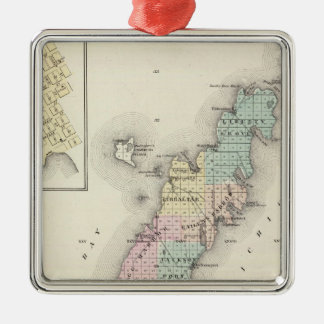 Maps of Door County, Sturgeon Bay and Jenny Silver-Colored Square Decoration
