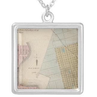 Maps of New Auburn, Minnesota Silver Plated Necklace