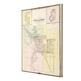 Maps of Stevens Point, Elroy and Wonewoc Canvas Print
