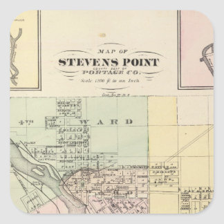Maps of Stevens Point, Elroy and Wonewoc Square Sticker