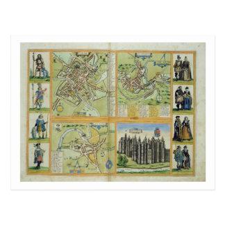 Maps of York, Shrewsbury, Lancaster, and Richmond, Postcard