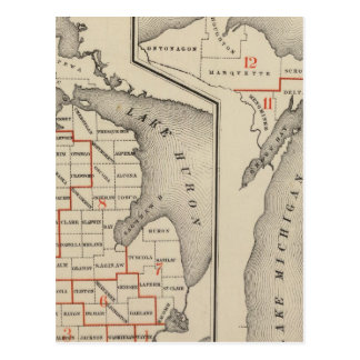 Maps showing the congressional districts postcard