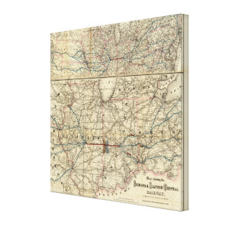 Maps showing the Indiana Stretched Canvas Prints