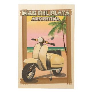 Mar del Plata Argentina beach poster Wood Prints