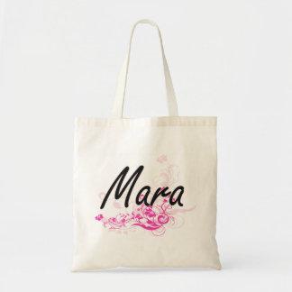 Mara Artistic Name Design with Flowers Budget Tote Bag