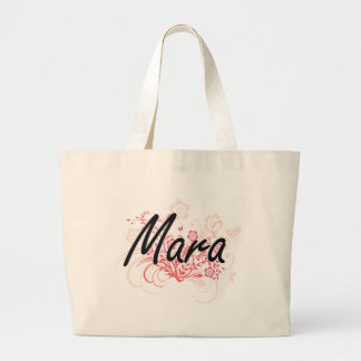 Mara Artistic Name Design with Flowers Jumbo Tote Bag