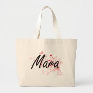 Mara Artistic Name Design with Hearts Jumbo Tote Bag