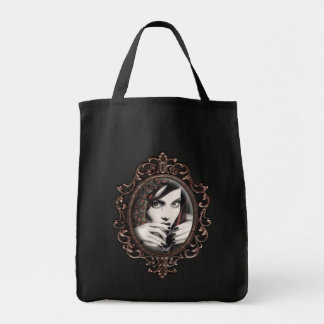 """Mara"" Gothic Martini Glass Gothic Canvas Tote Grocery Tote Bag"