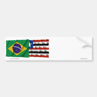 Maranhão & Brazil Waving Flags Bumper Sticker