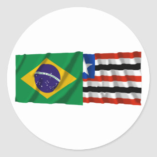 Maranhão & Brazil Waving Flags Round Sticker