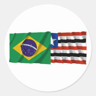 Maranhão & Brazil Waving Flags Round Stickers