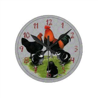 Marans Black Copper Chicken Family Wall Clock