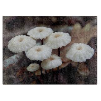 Marasmius rotula Mushroom Glass Chopping Board