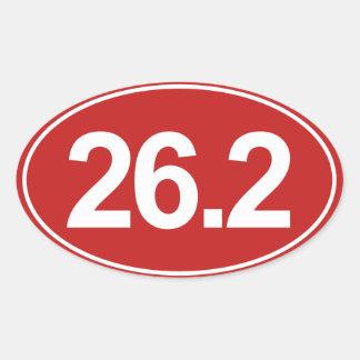 Marathon 26.2 Miles Oval Sticker (Red)
