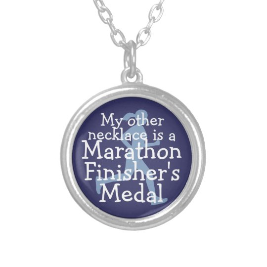 Marathon Finisher's Medal- denim Silver Plated Necklace