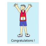 Marathon runner male congratulations. postcard