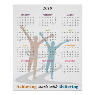 Marathon Runner Motivational 2018 Year Calendar Poster