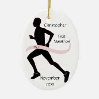 Marathon Runner Ornament - Male Pink Ribbon